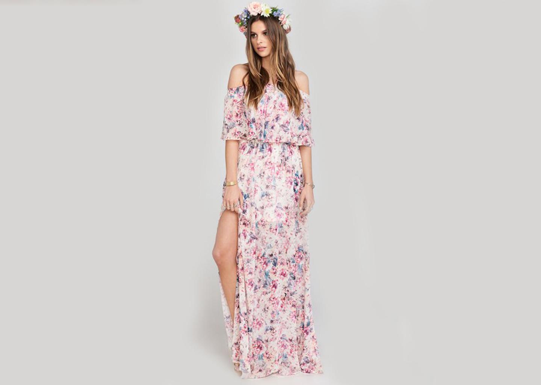 Bol Bol Çiçekli Düğün Elbisesi