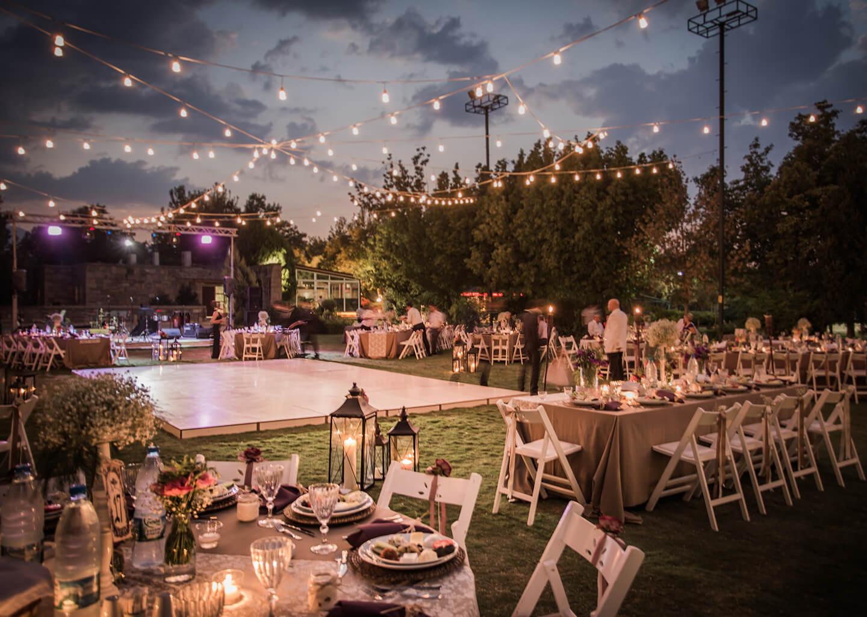 açıkhava kır düğünü ışıklandırılmış mekan