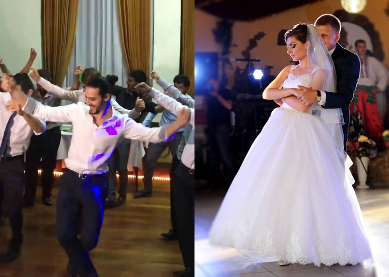 gelin ve damat düğünde dans ediyor, damat erik dalı oynuyor